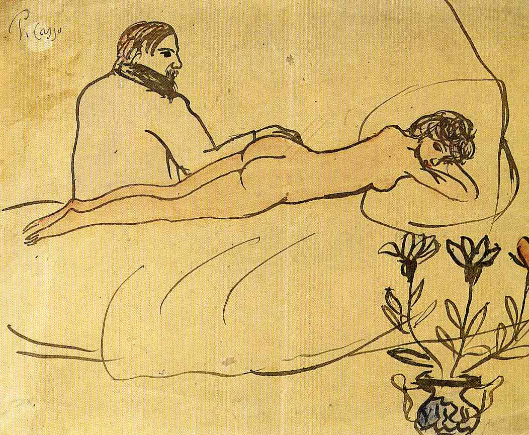 Picasso Nude with Picasso by her feet 1903