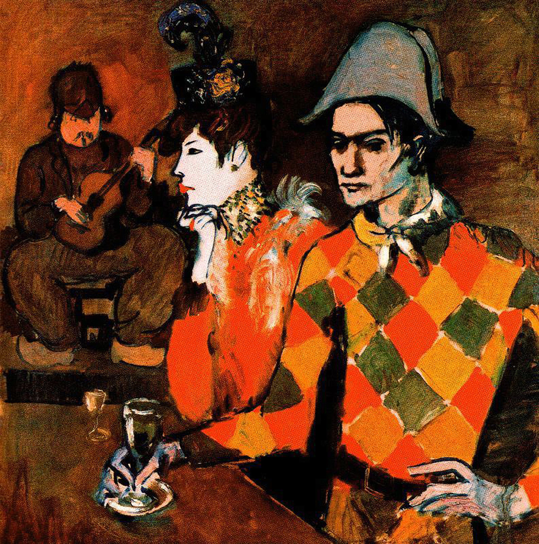 Picasso At Lapin Agile. Harlequin with Glass 1905