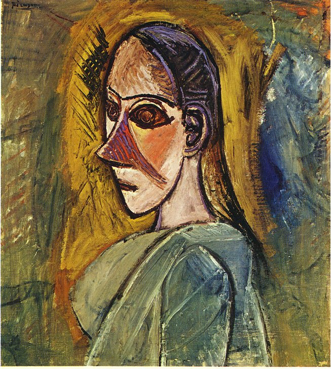 Picasso Bust of young woman from Avignon 1907