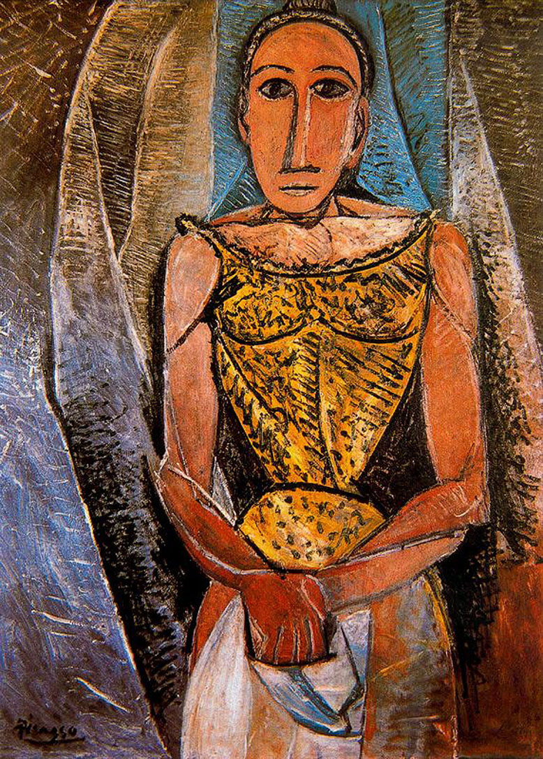 Picasso Woman with yellow shirt 1907