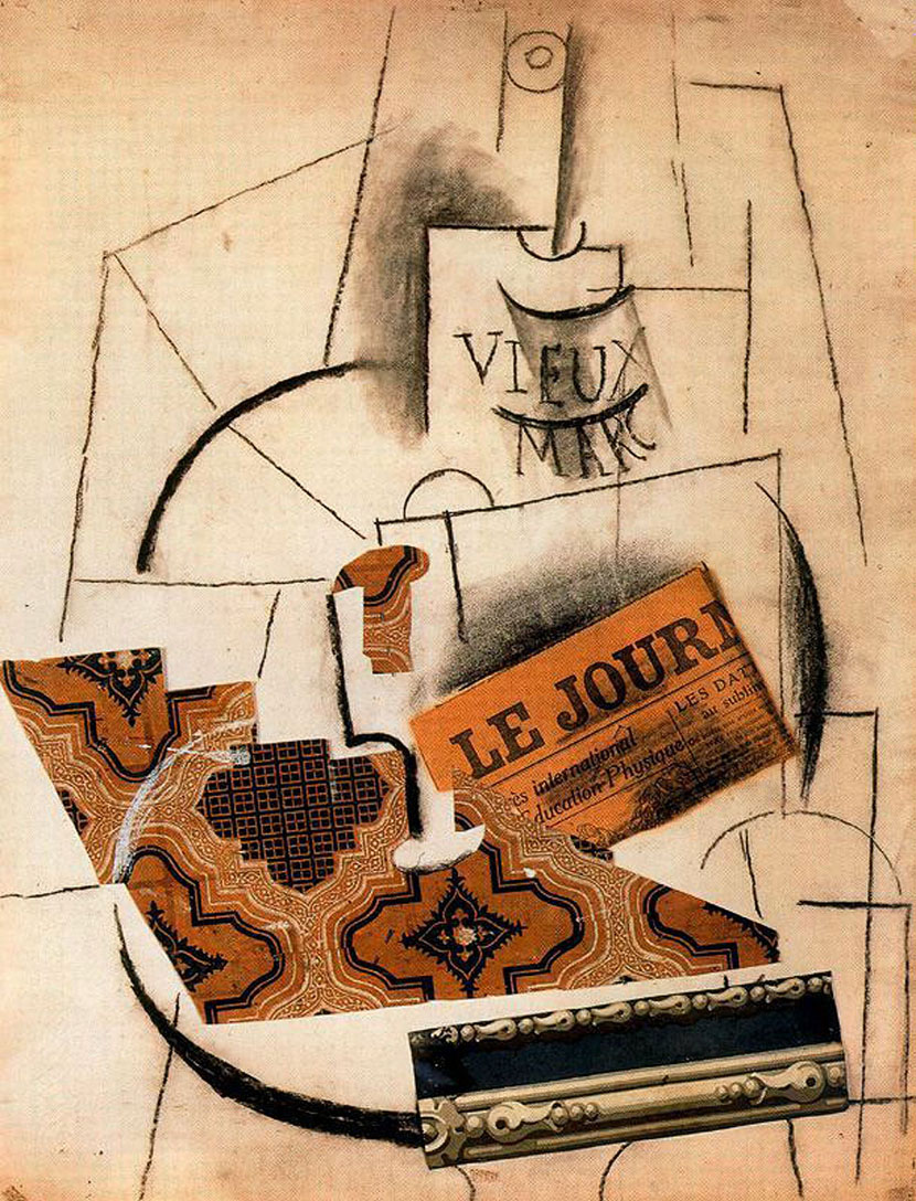 Picasso Bottle of Vieux Marc, Glass and Newspaper 1913