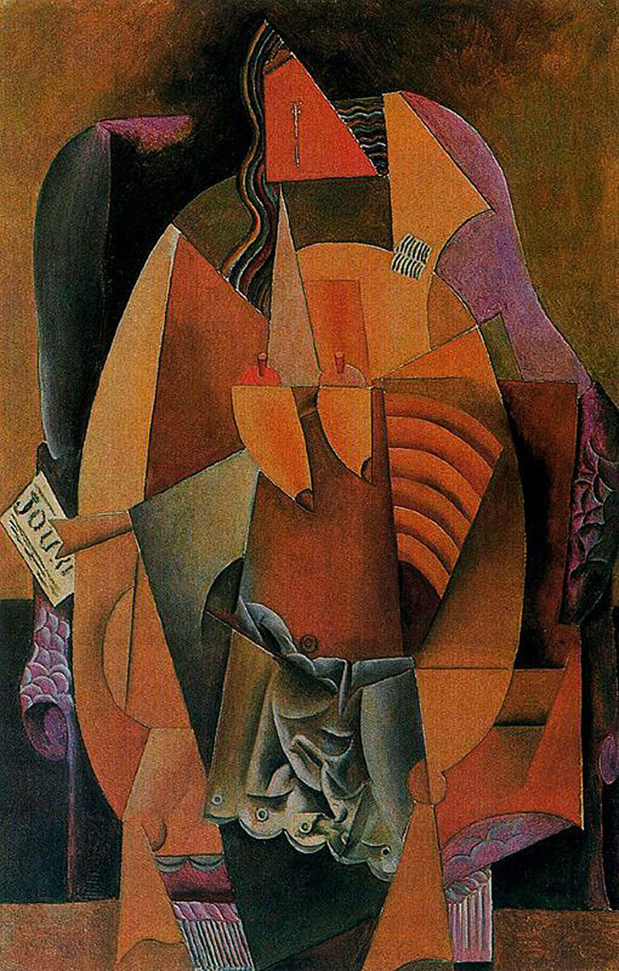 Picasso Woman with a shirt sitting in a chair 1913