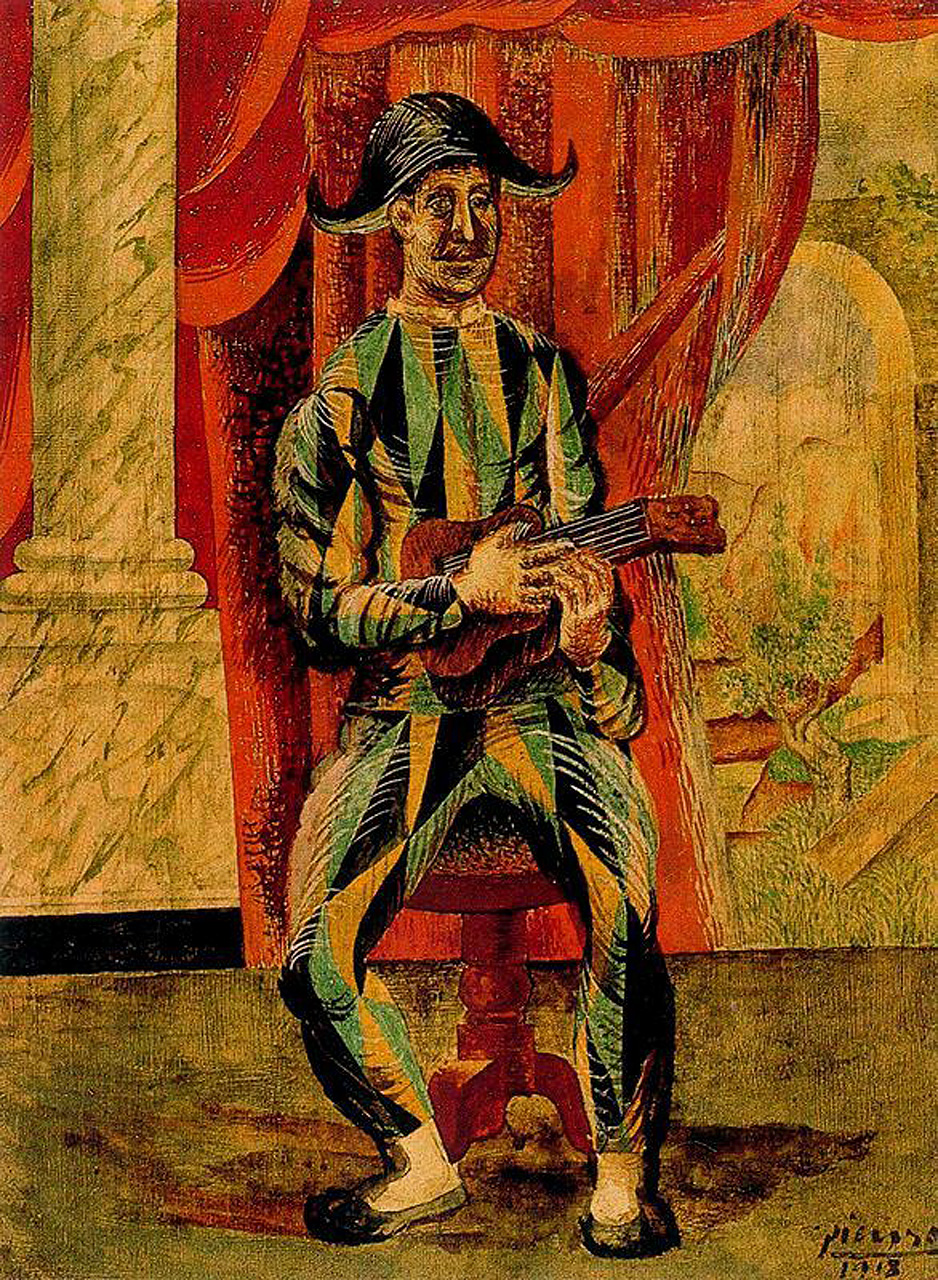 Picasso Harlequin with guitar 1918