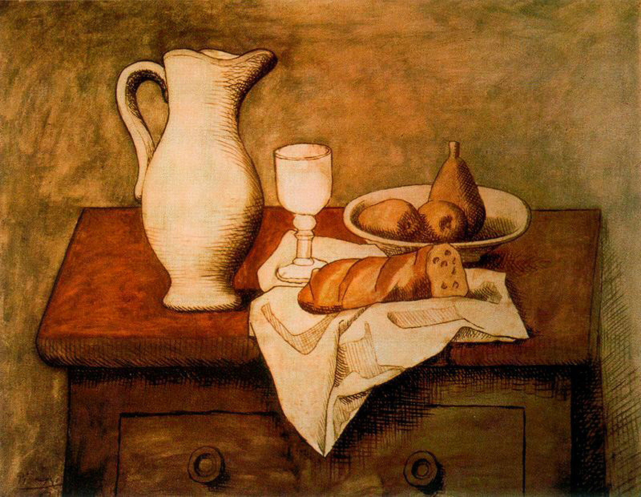 Picasso Still life with jug and bread 1921