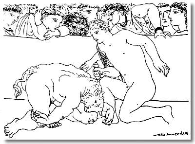 Picasso Minotaur is wounded 1933