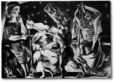 Picasso Blind Minotaur is guided by girl through the night Blanton 1934