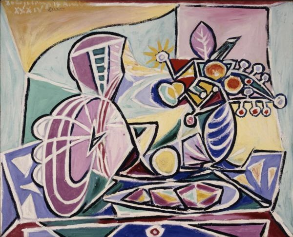Picasso 1934 Mandolin and Vase of Flowers