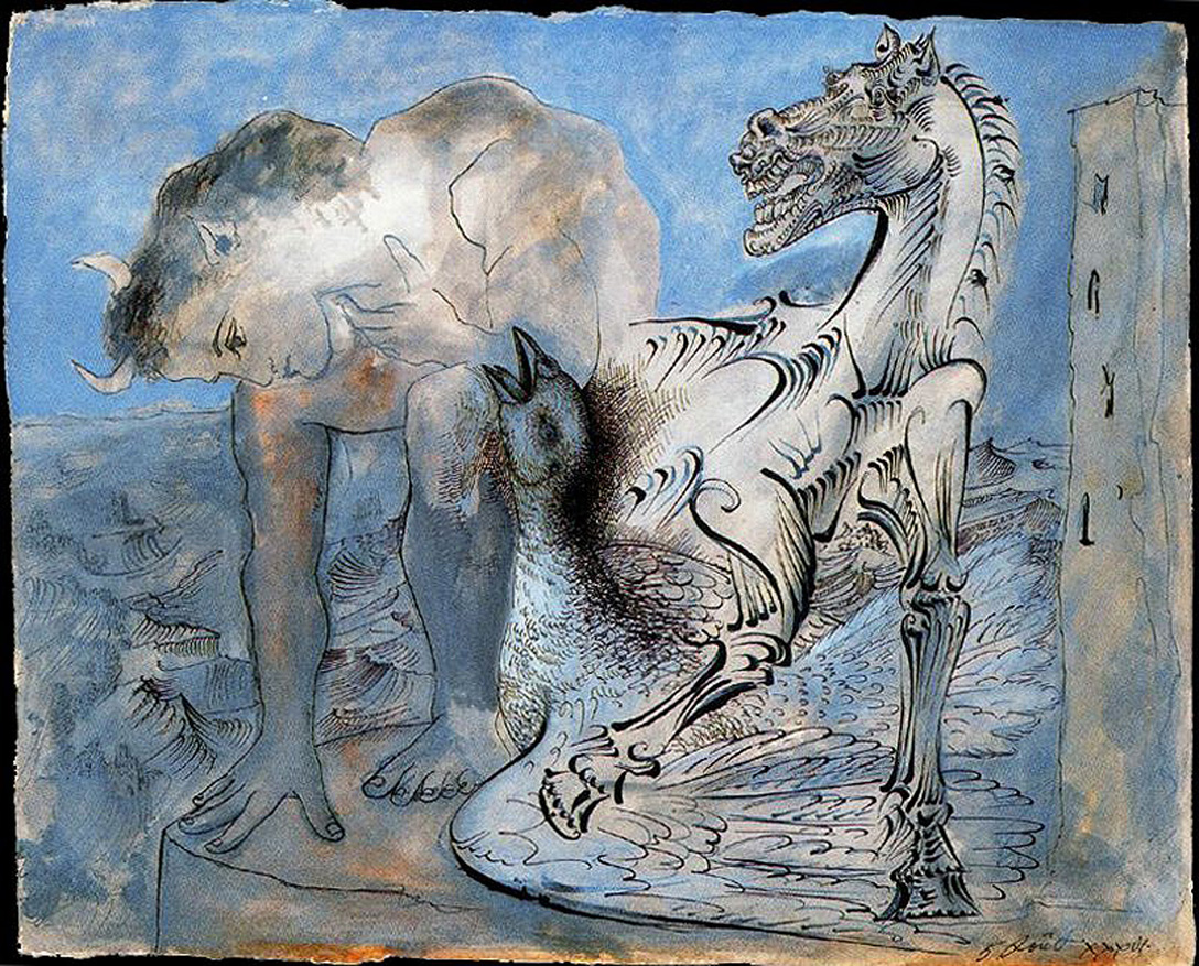 Faun, Horse And Bird 1936 44x54cm Indian Ink, Watercolor, Paper. Musée  Picasso, Paris, France. «