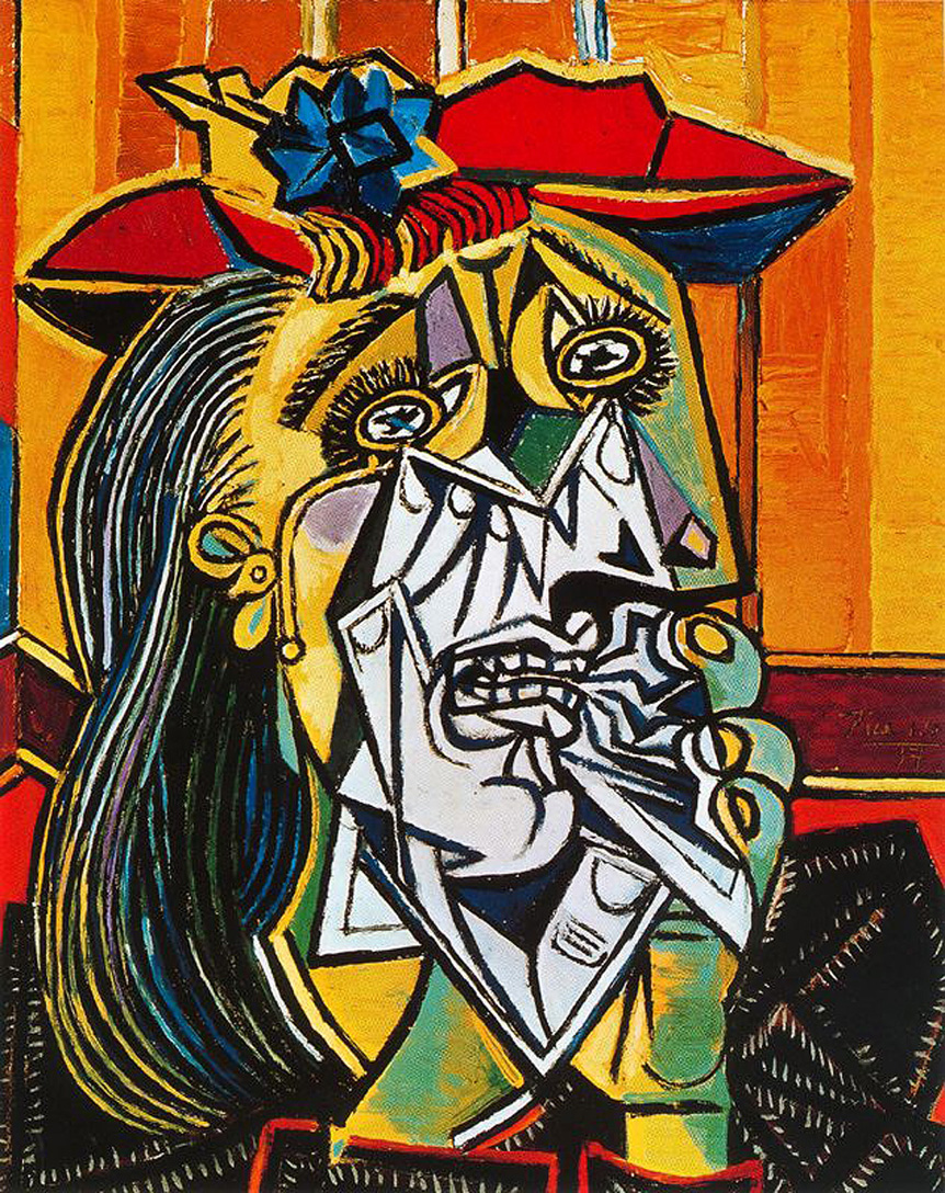 the weeping woman by picasso essay Read and learn for free about the following article: picasso, guernica  on the  far left is a woman, head back, screaming in pain and grief, holding the lifeless.