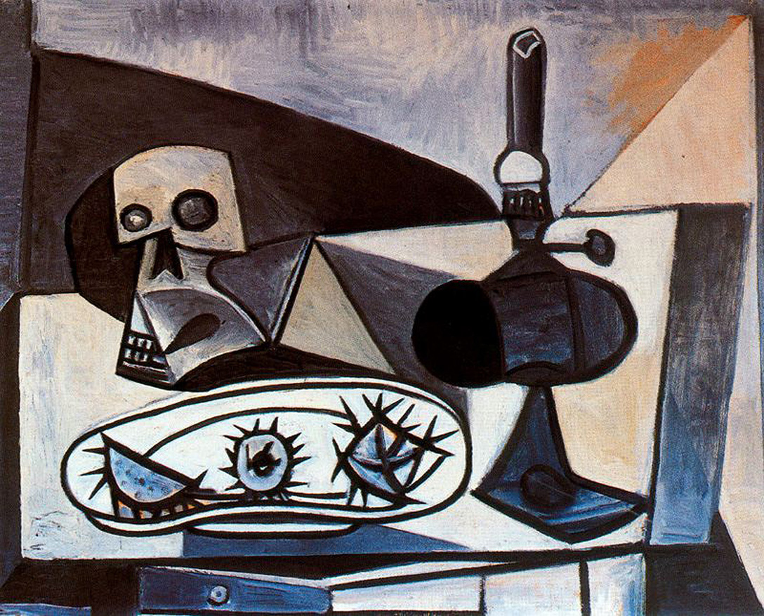 Picasso Skull, urchins and lamp on a table 1943