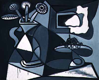 Picasso Vase of flowers and fruit bowl 1943