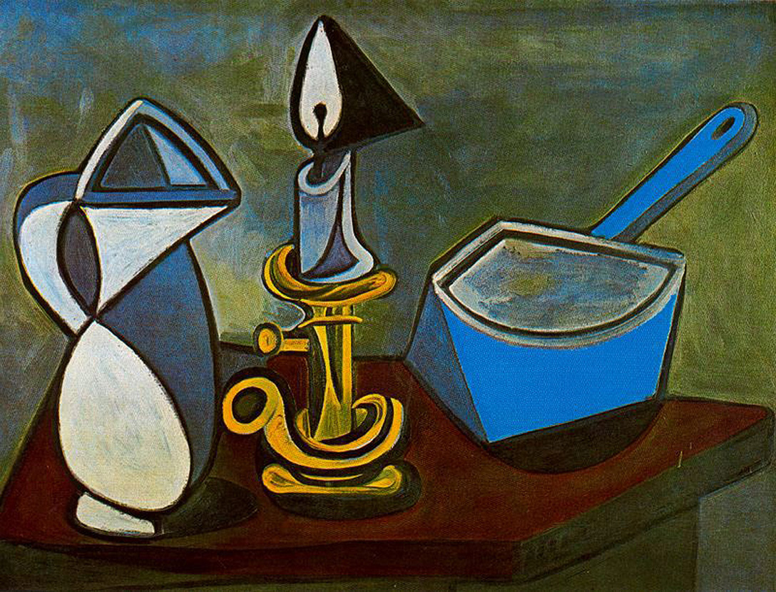 Picasso Jug, candle and enamel pan 1945