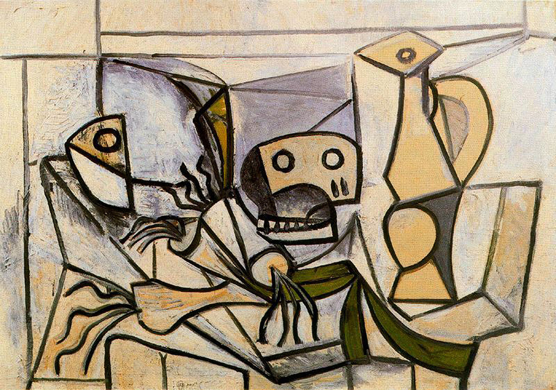 Picasso Leeks, fish head, skull and pitcher 1945