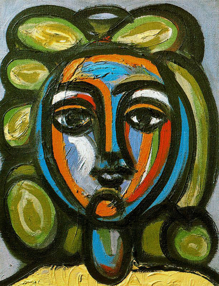 Picasso Head of a woman with green curls 1947