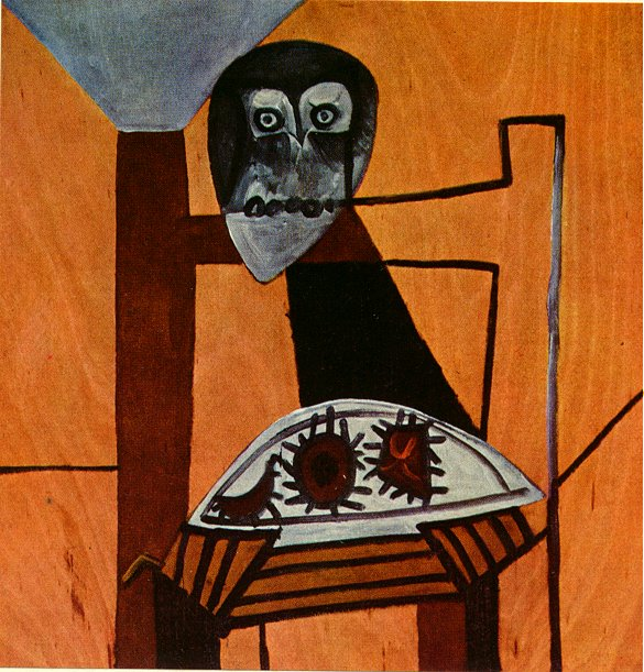 Picasso Owl on a chair and sea urchins 1946