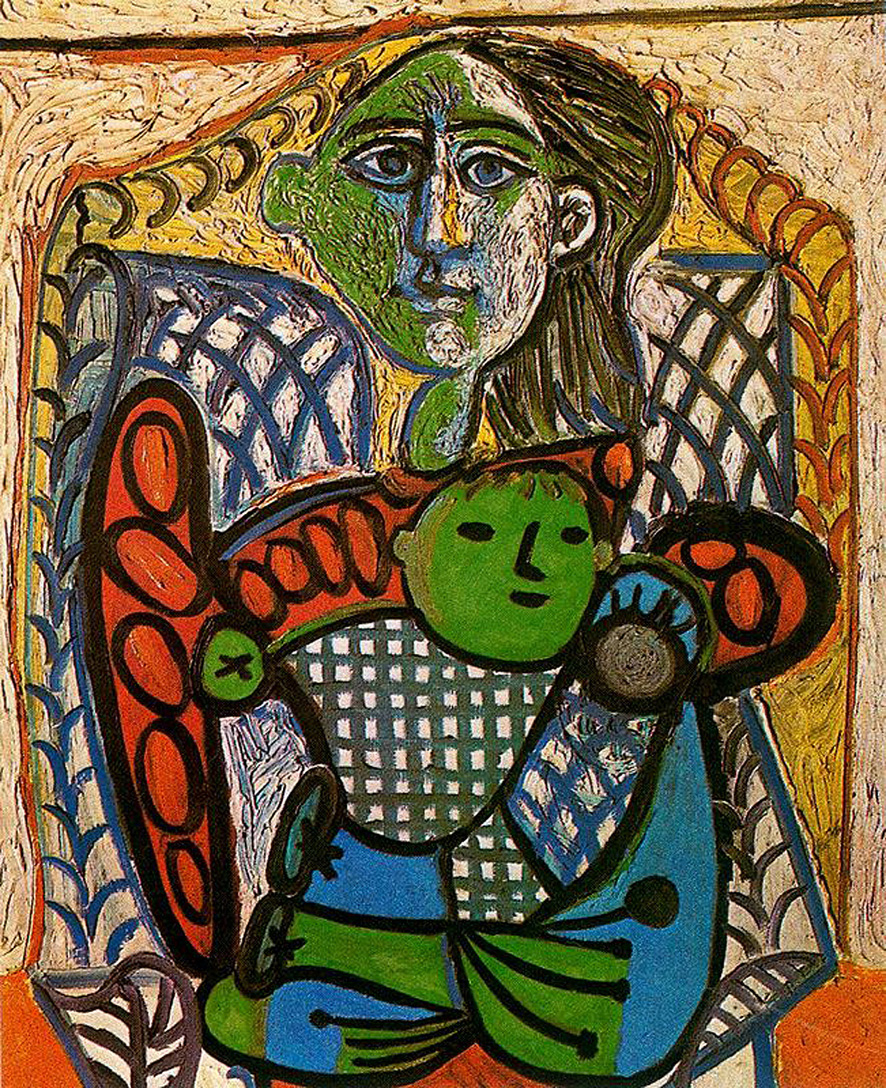 Picasso Claude in the arms of his mother 1948