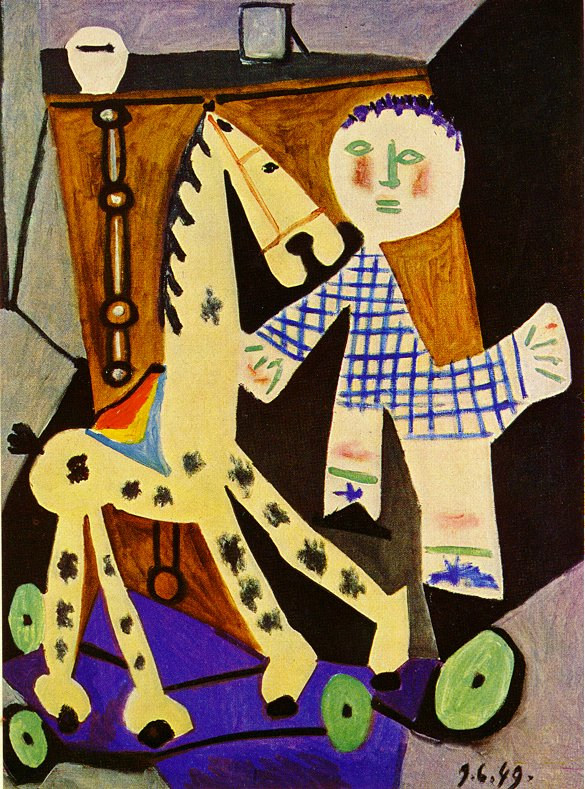 Picasso Claude, two years old, and his hobby horse 1949