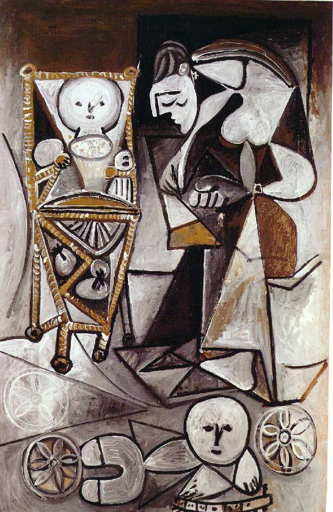 Picasso Drawing woman surrounded by her children 1950