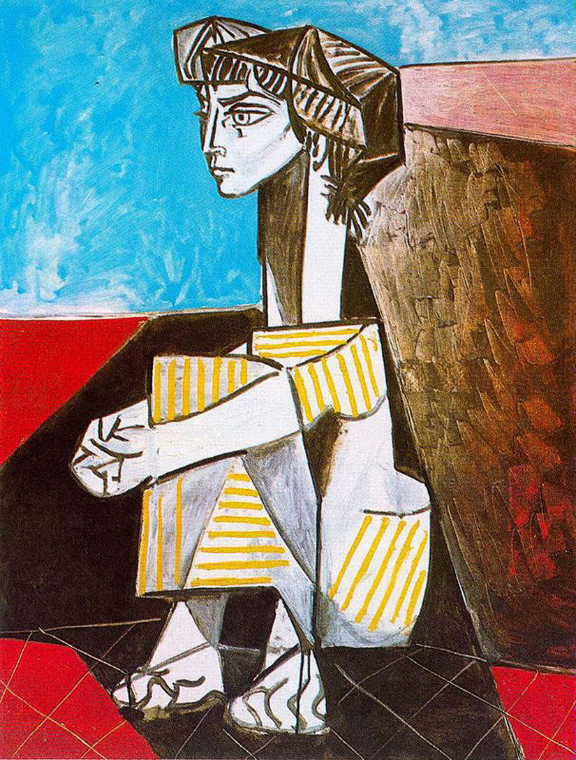 Picasso Portrait of Jacqueline Roque with her hands crossed 1954
