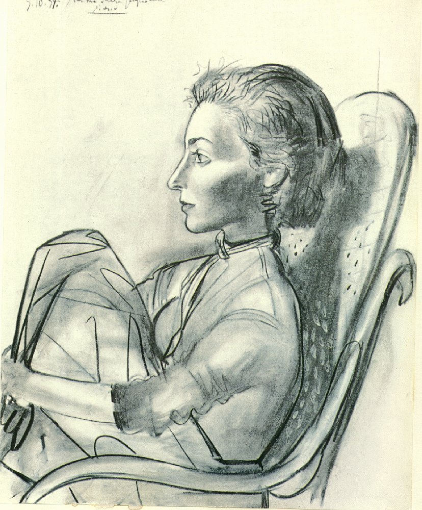 Picasso Woman sitting in an armchair 1954
